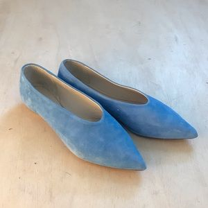 COS Pointed Blue Suede Flats
